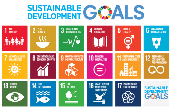 Icons for all 17 of the Sustainable Development Goals. (via un.org)