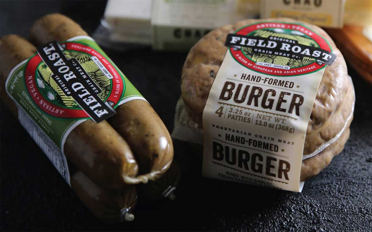 Field Roast Grain Meat Co. - We pride ourselves on our selection of vegetarian and vegan options. Add a Field Roast Burger to any sandwich as a perfect and filling vegan protein or ask for a Field Roast Frankfurter in any of hand wrapped bagel dogs.