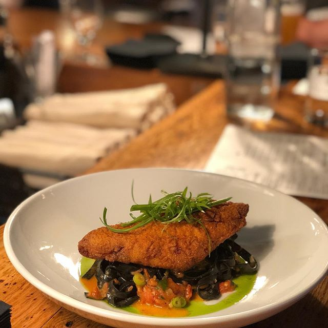 ✨🐱🐟✨ Tonight's Special: Cajun Style Crispy Catfish | 'Blackened' Squid Ink Fettuccine | Cajun Tomato Pan Sauce | Scallion . Get It While You Can 👏