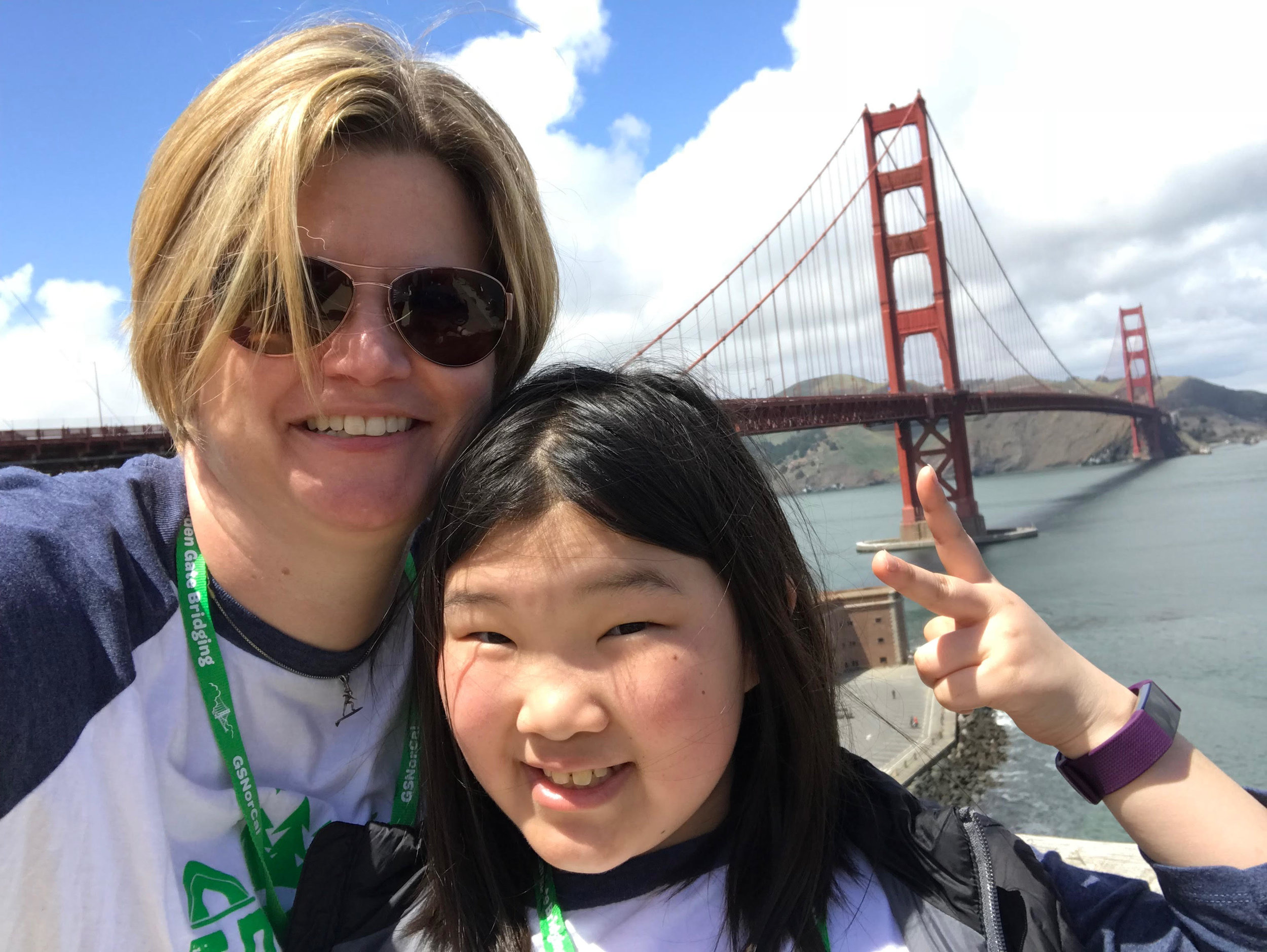 Megan and her mom, Jenny, after walking over the Golden Gate Bridge with the Girl Scouts (April 2018)