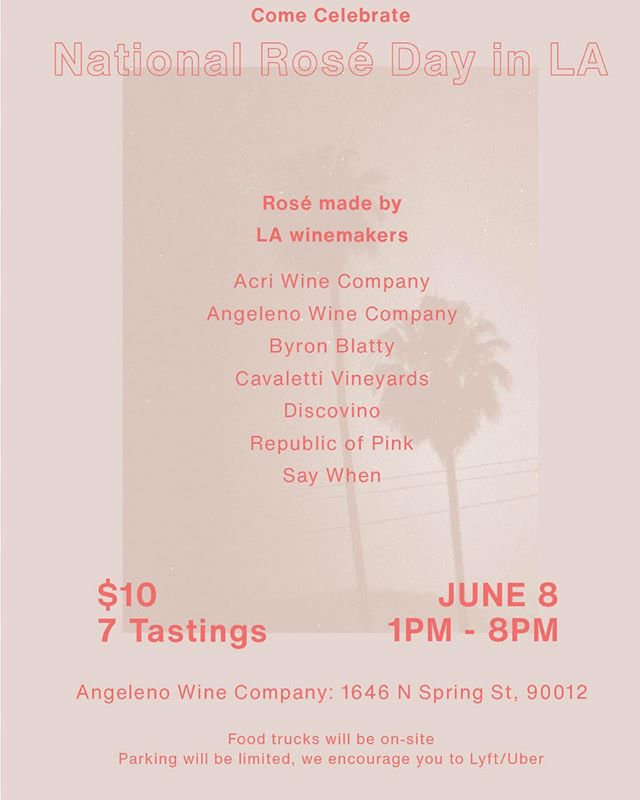 Come celebrate National Rosé Day with us and our LA peeps on June 8th. Taste some amazing pink wines and hang with your homies in LA's coolest new winery. $10 gets you 7 wines. Eventbrite link in bio.  #roséallday #losangeles #nationalroséday #roséseason