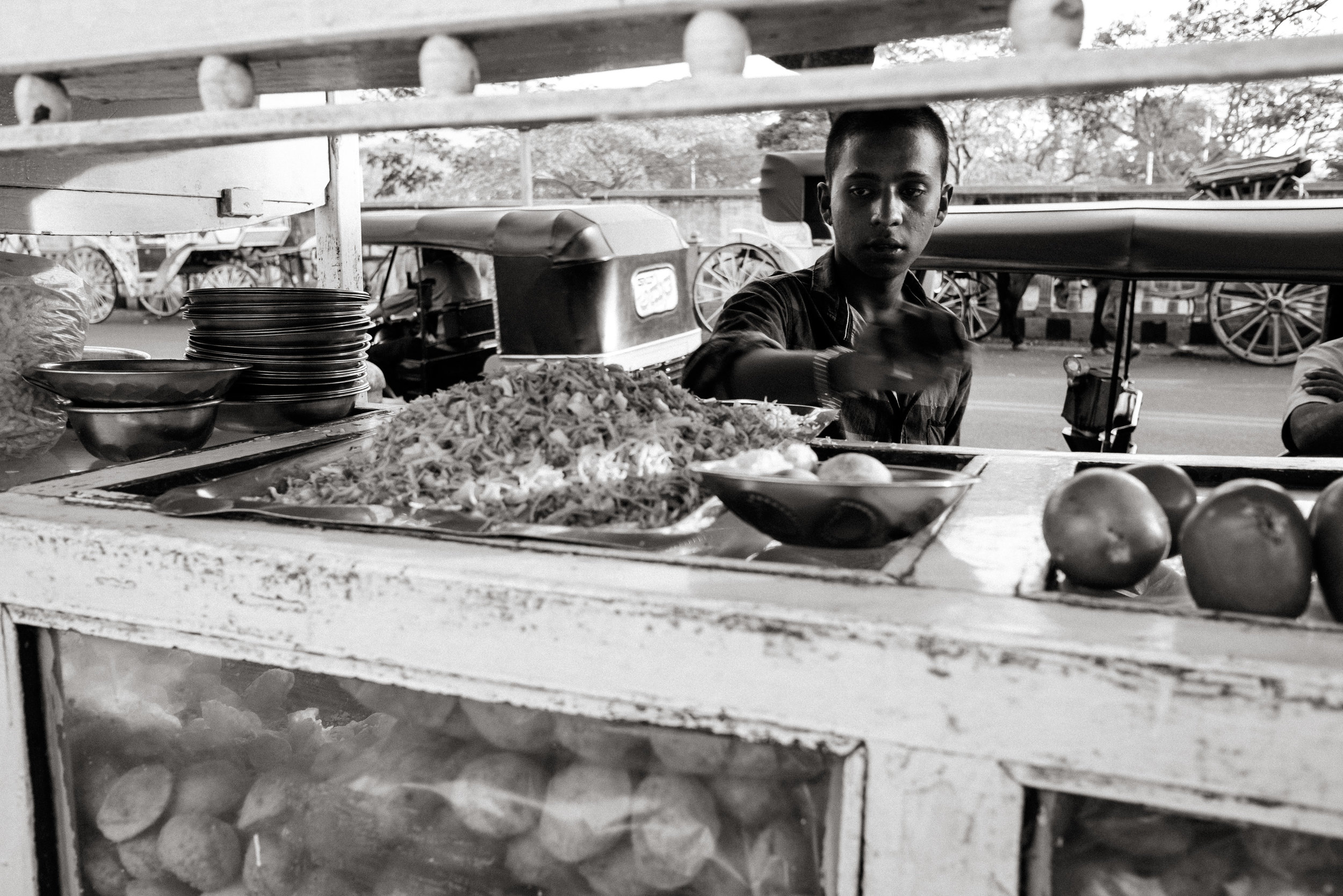 A street food vendor in Mysore, India.