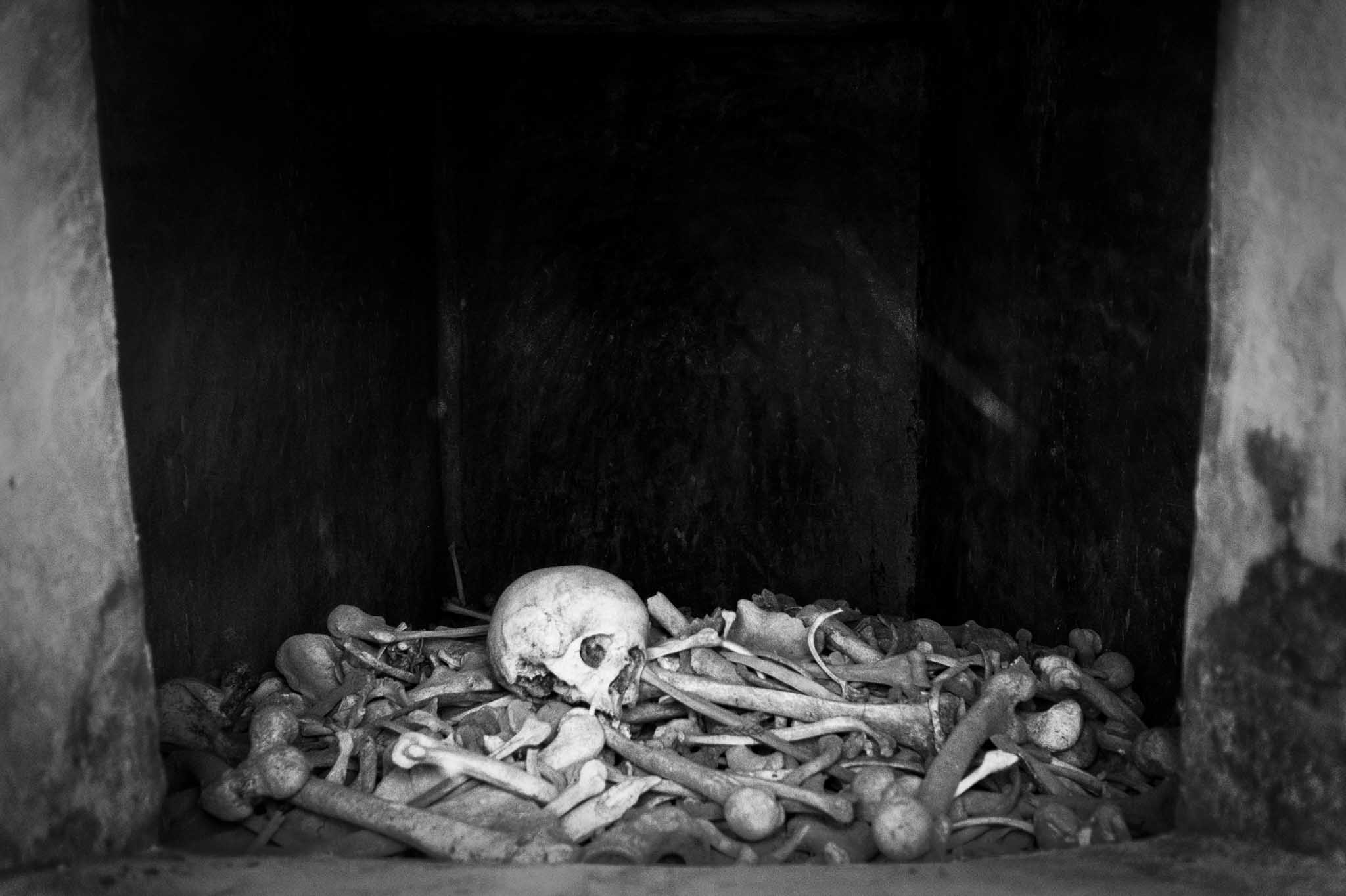 Skeletal remains of soldiers who died on the battlefield during the Battle of Verdun in World War I.