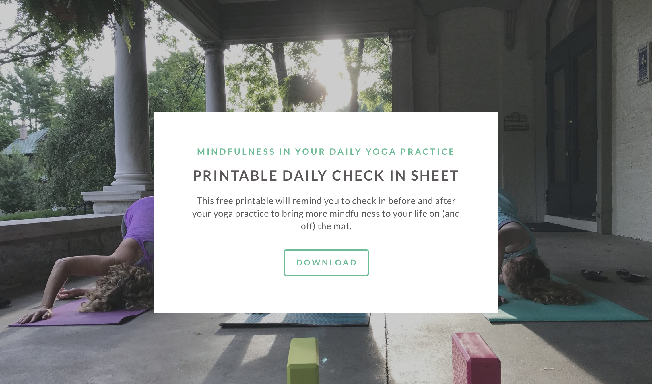 Yoga and meditation free check in sheet