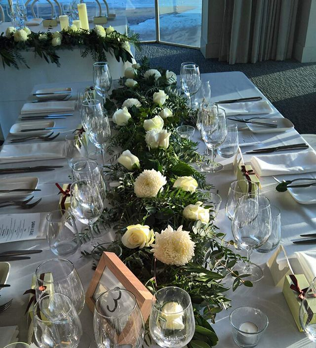 S & B's table garlands @harbourroomstkilda  Loved using the beautiful disbuds #tablegarland #tablegarlands #tablegarlandcentrepiece  #greenerygarland #tablerunner #weddingcenterpieces #weddingflowers #weddingflowersmelbourne #melbourneweddingflorist #toembellish