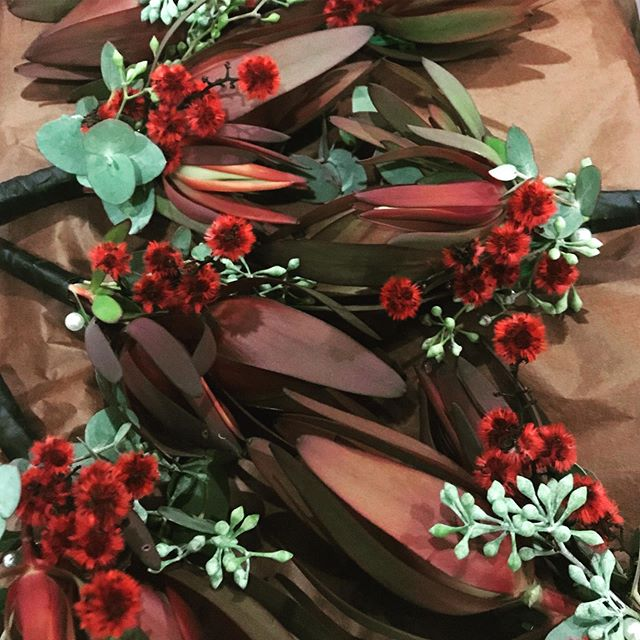 S's native buttonholes. Loved the red Stirlingia. #buttonholes #nativebuttonholes #nativeweddingflowers #nativeflowers #melbourneweddingflorist #weddingflowers #stirlingia #toembellish