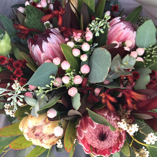 S' beautiful protea and native bouquet. Loved that it included the first #kangaroopaw of the season. It smelt amazing too #proteas #nativeweddingflowers #weddingflowersmelbourne #melbourneweddingflorist #yarravalleyweddings #toembellish