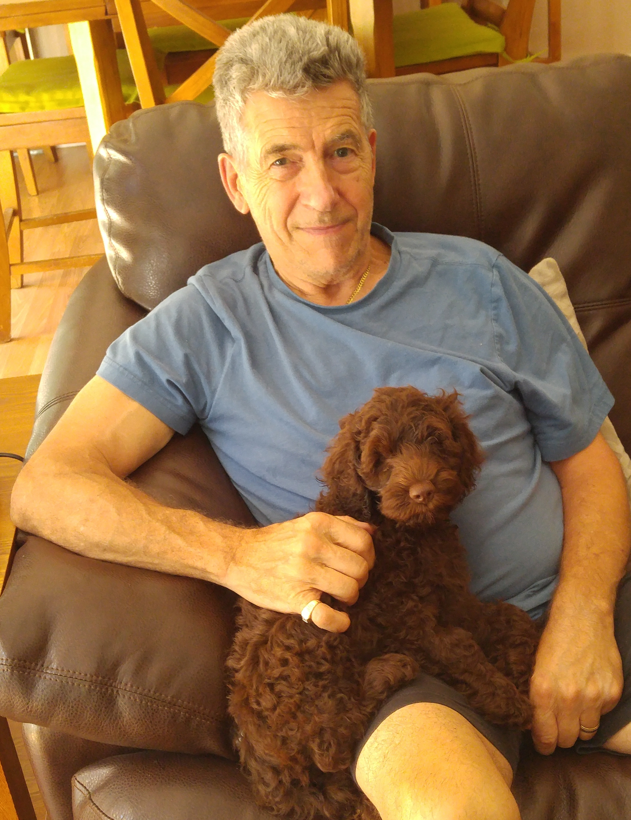 My Late husband Peter with one of Della's puppies