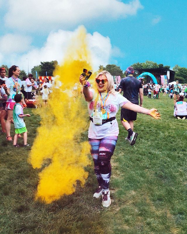 """There will never be the perfect time.  When I was invited to participate in the 5K Color Run at first I thought, what an awesome idea! So I said yes, let's do it. As the day approached I started whining to myself. """"I still have a hurt knee, and I for sure can't run, it's going to be cold and gloomy, and might rain, and the run is at 8 am and a solid hour away from my house"""". I kept asking myself why I was doing this to myself voluntarily, as I put on my running shoes at 7 am after only four hours of sleep (I haven't been up this early in a while). I got into an Uber, sunglasses on, hoping my driver wasn't the talkative type. All I could do is text """"make coffee"""" to my friend who is one of the only friends I have that will be excited about doing something like that with me. Oh, I forgot to say that I was also getting over a cold and put a nose spray into my running belt before I put my keys or my wallet.  As we pulled up to Soldier Field I saw an enormous crowd of people that all seemed happy and excited. I mean these people got out of bed at 6 am after a long week of work. They all made it here, so that can celebrate what seems, well, nothing specific, which is awesome! I instantly felt an enormous energy. There was something in the air. And it wasn't just all that colored powder. It was joy.  I am a huge advocate of creating experiences. But here I was about to miss out on an awesome memorable adventure because of a, b and c excuses that I will not remember when I look back at my summer 2019.  Have you ever had experiences that seemed hard for you do at the moment, but now you can't even remember the obstacles you had to go through? Think about them. Because I am not over with this topic ❤️ Thanks to @rumhaven for inviting me to @thecolorrun and helping me get out of my comfort zone."""