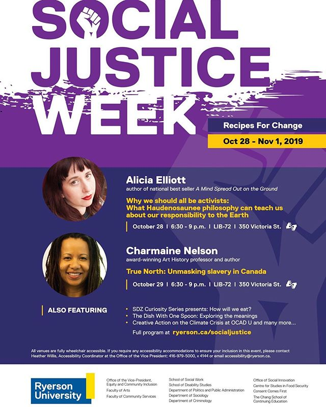 Check out Ryerson.ca/social justice for more info. If you would like to attend and require an ASL interpreter please email accessibility@ryerson.ca #socialjusticeweek2019 #deafcommunity #aslinterpreters