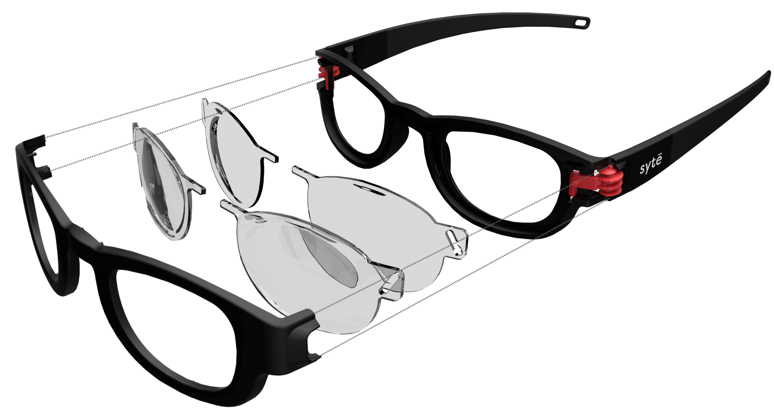 Above: exploded view of the Sytë Eyewear construction.