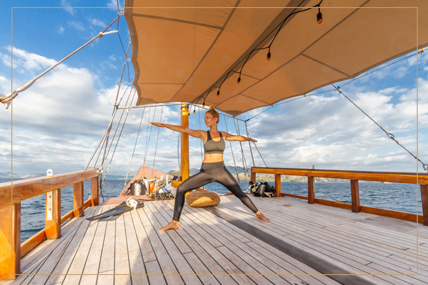 YOGA - Living on a boat would make you feel free and relaxed, why don't you add in some yoga too ? The tradition of doing yoga is well absorbed and manifested in Balinese way of living, the only Hindu majority island in whole Indonesia. Begin your day with some yoga practice on the deck, with some ancient Hindu meditation techniques, connecting corporeal body with the universe of spirituality.