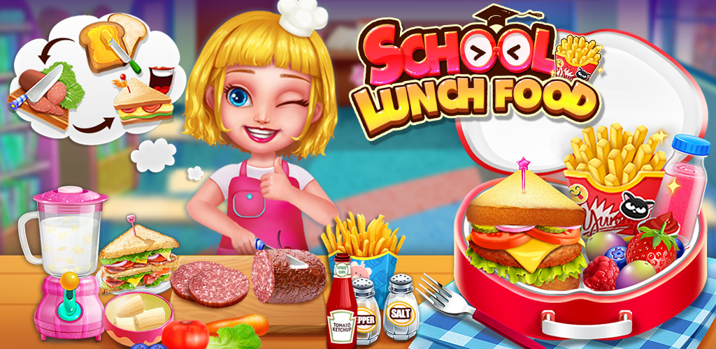 School Lunch Food Maker 2  Time to back to school, Prepare lunch box with sandwich,french fries and juice.
