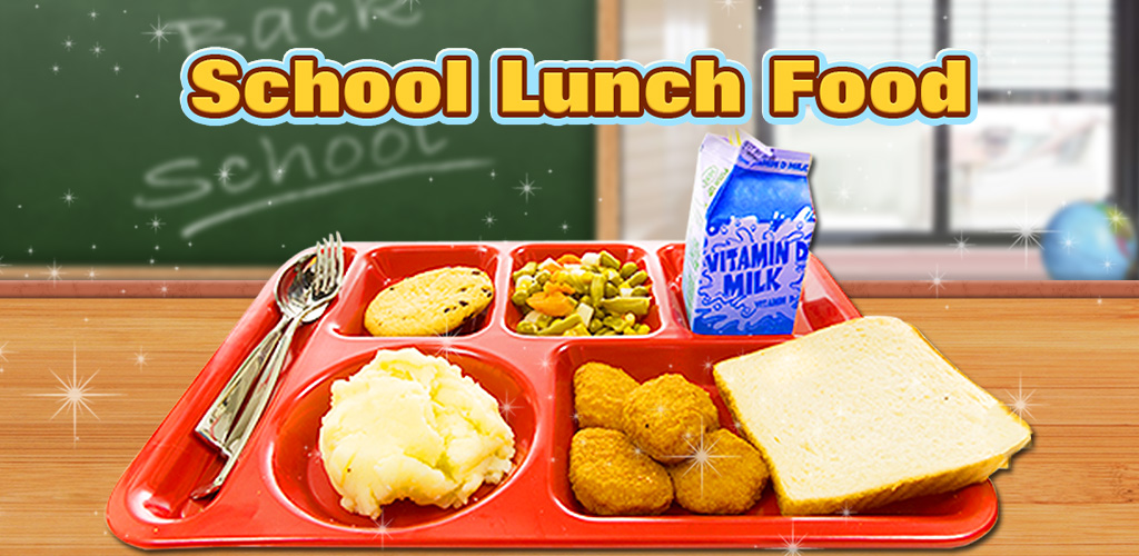 School Lunch Food Maker!  Make YUMMY school lunch food! Sandwich, hamburger, buffalo wings, juice & milk.