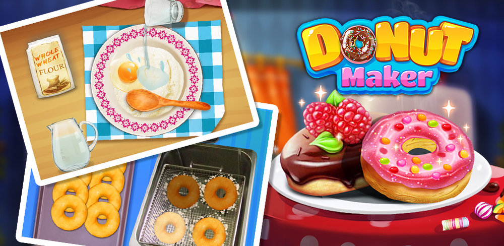 Donut Maker  Create round delicious donuts and decorate it with TONS of toppings!