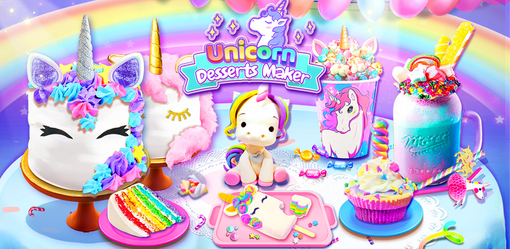 Rainbow Unicorn Foods & Desserts: Cooking Games  Unicorn Foods! Rainbow, Galaxy, Glitter, Ice Cream, Milkshake, Slushy and more!