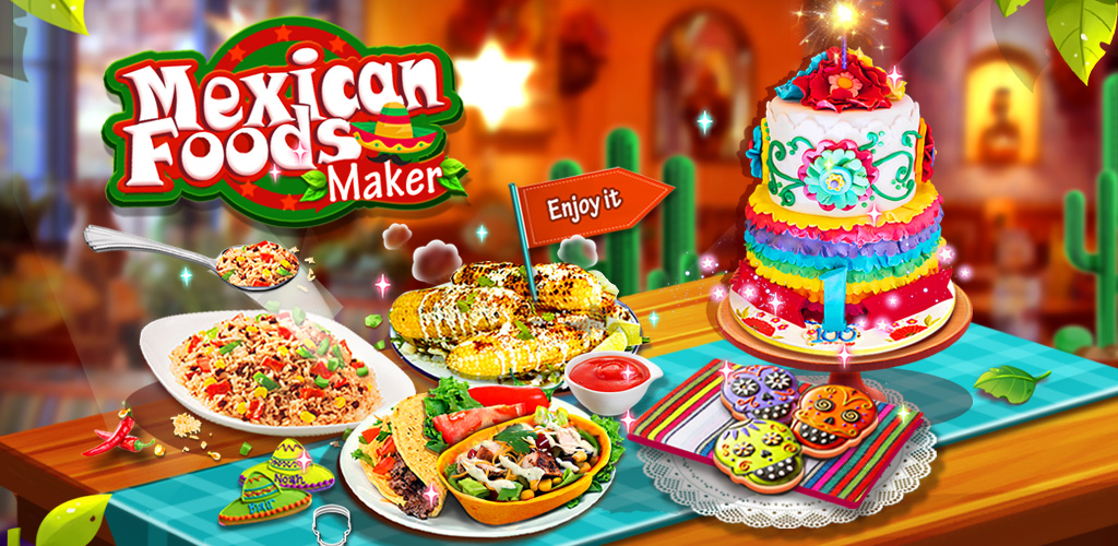 Mexican Foods Maker - Free Fiesta Cooking Games  The Mexican Food Shop is here! Make Burritos, Nachos, Tacos and more! Free Games