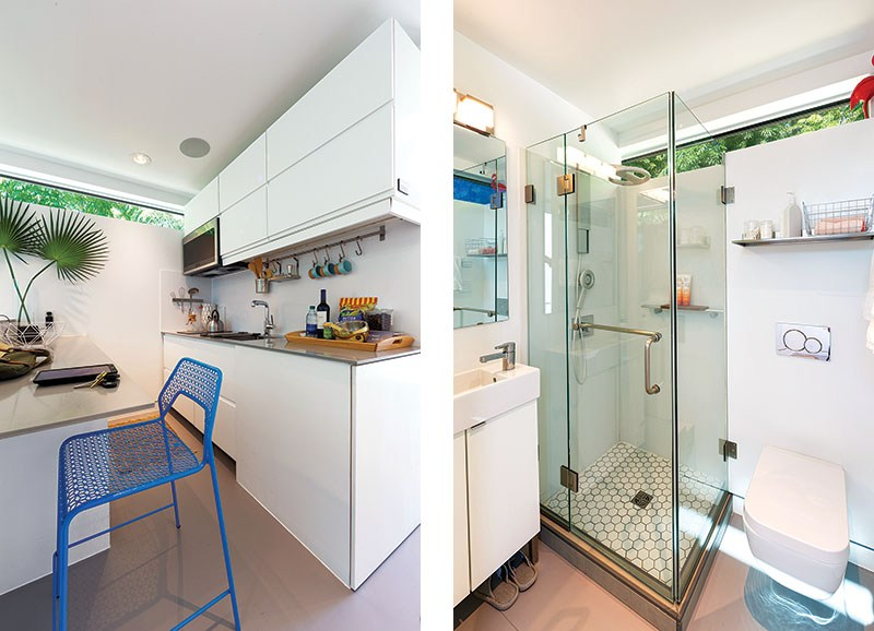 Left: Every kitchen comes equipped with a two-burner electric stove, microwave, garbage disposal and refrigerator/freezer. They say the kitchen is the heart of the home, the Kasita kitchen is no exception. Right: Every appliance has been carefully considered for the Kasita. The chrome shower head, for example, is the Vero by Delta, chosen for its superior quality and not just for its space-age look.