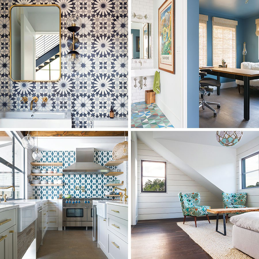 The tile found in the kitchen, bathrooms, and breezeway were made by Popham tiles, a Moroccan company that Jenny found online. Every set was custom designed and handmade.