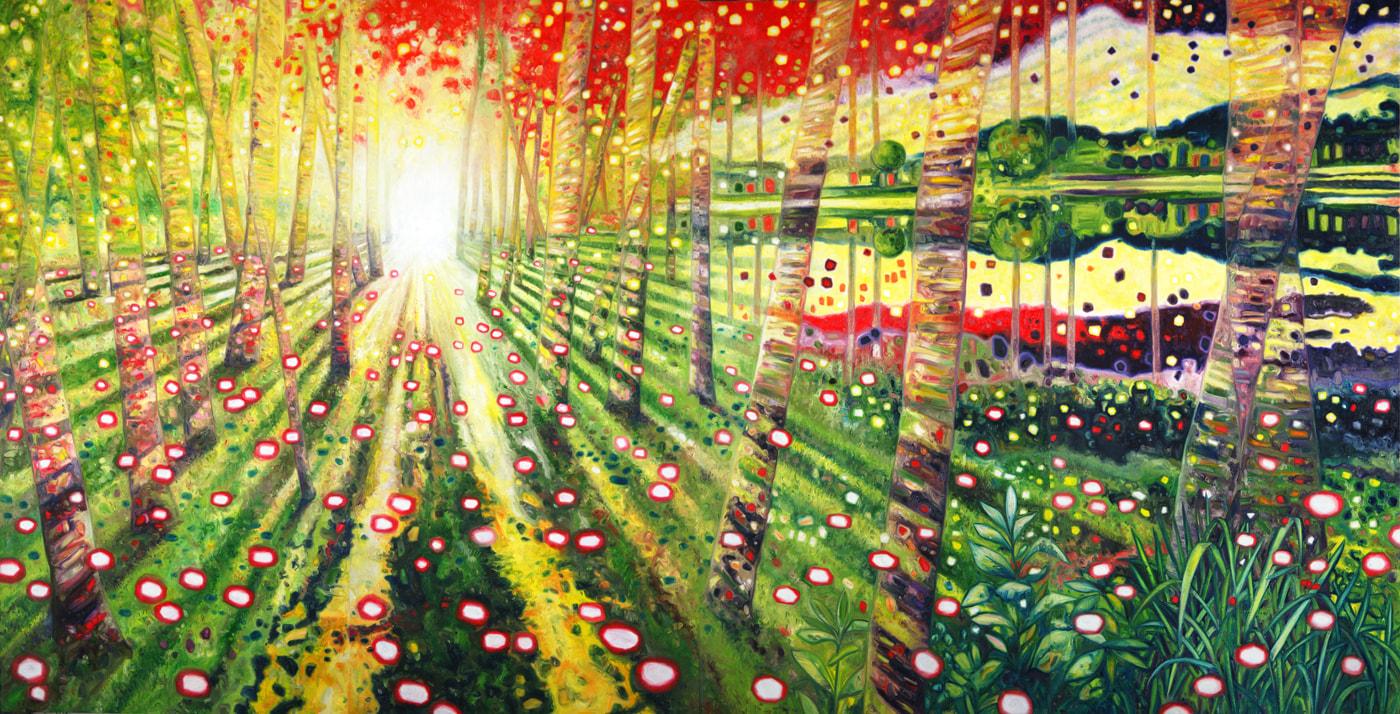 Oscar Oiwa,  Path of the Light,  2018. Oil on canvas, 228.6 × 444.5 cm.