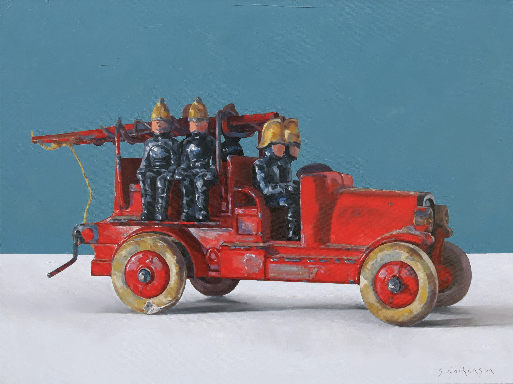 Taylor & Barret Lead Fire Engine,  oil on canvas, 100 x 75 cm