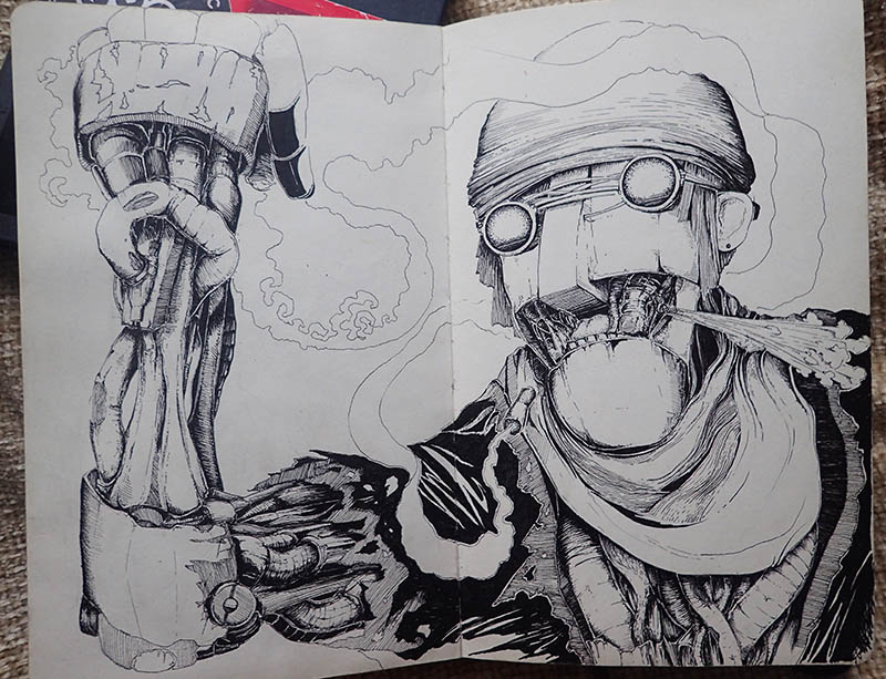 This was a sketchbook piece I worked on during my trip to India when I wasn't up to my eye balls in trains and fun people!  I did have a couple of chilled art days where I worked on some things but this guy stood out as a strong character. Definitely interested in developing him some more.