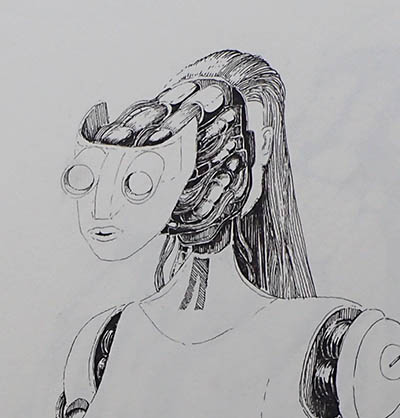 female robot split head