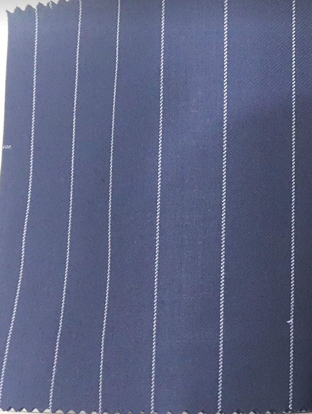 Fabric Choice - Navy Blue with White PinstripesSuiting Wool