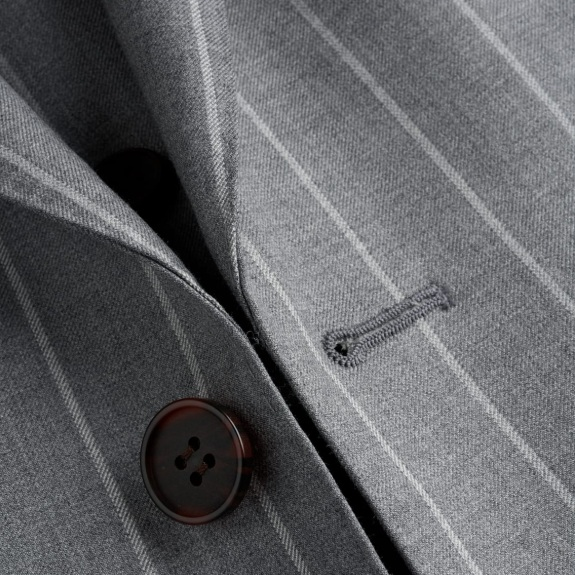 Suit Fabric - Gray with White Pinstripes