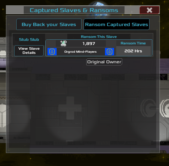 The ransom UI in action! Here you can see we have taken custody of 'Stub Slub', who was owned the Orgrod Mind-Flayers.