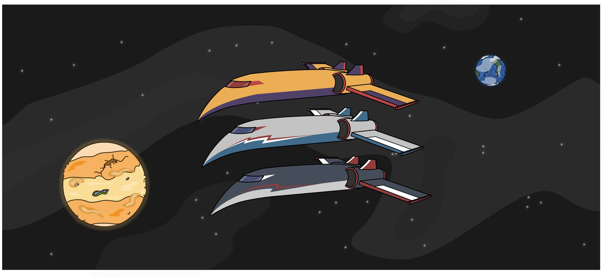 Starship color tests, on a space background