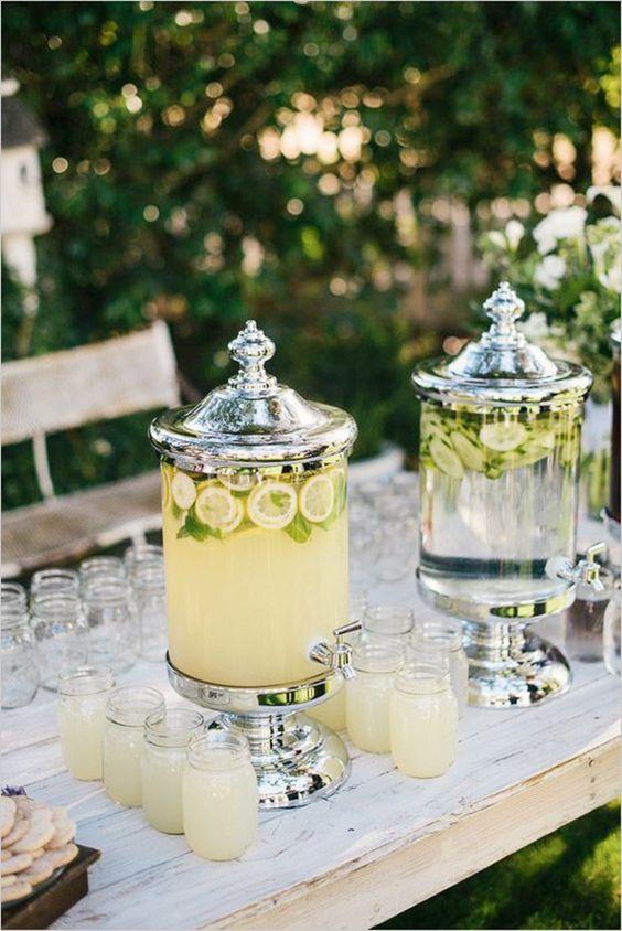 Outdoor spring wedding drink table decor idea with lemonade via  Pinterest