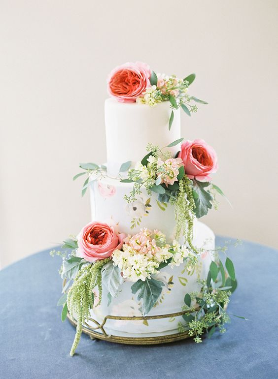 Tiered wedding cake decorated with flowers, perfect for a spring wedding, photo via  Pinterest