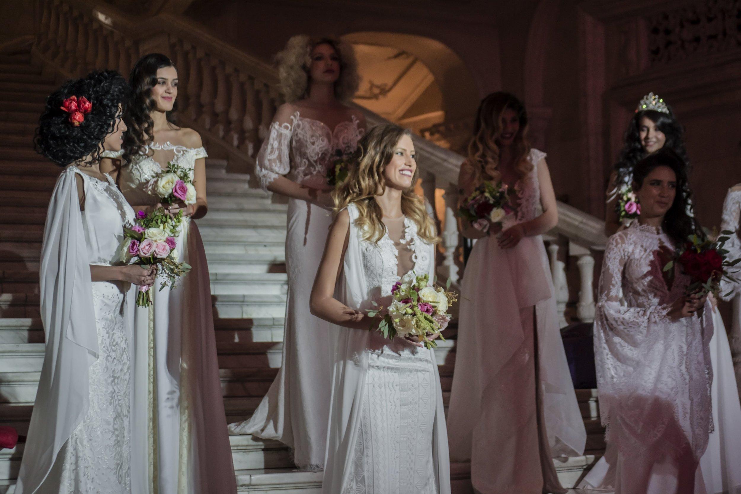 Photo of beautiful Fashion by Laina wedding dresses on the catwalk at Mariage Fest, Romania.