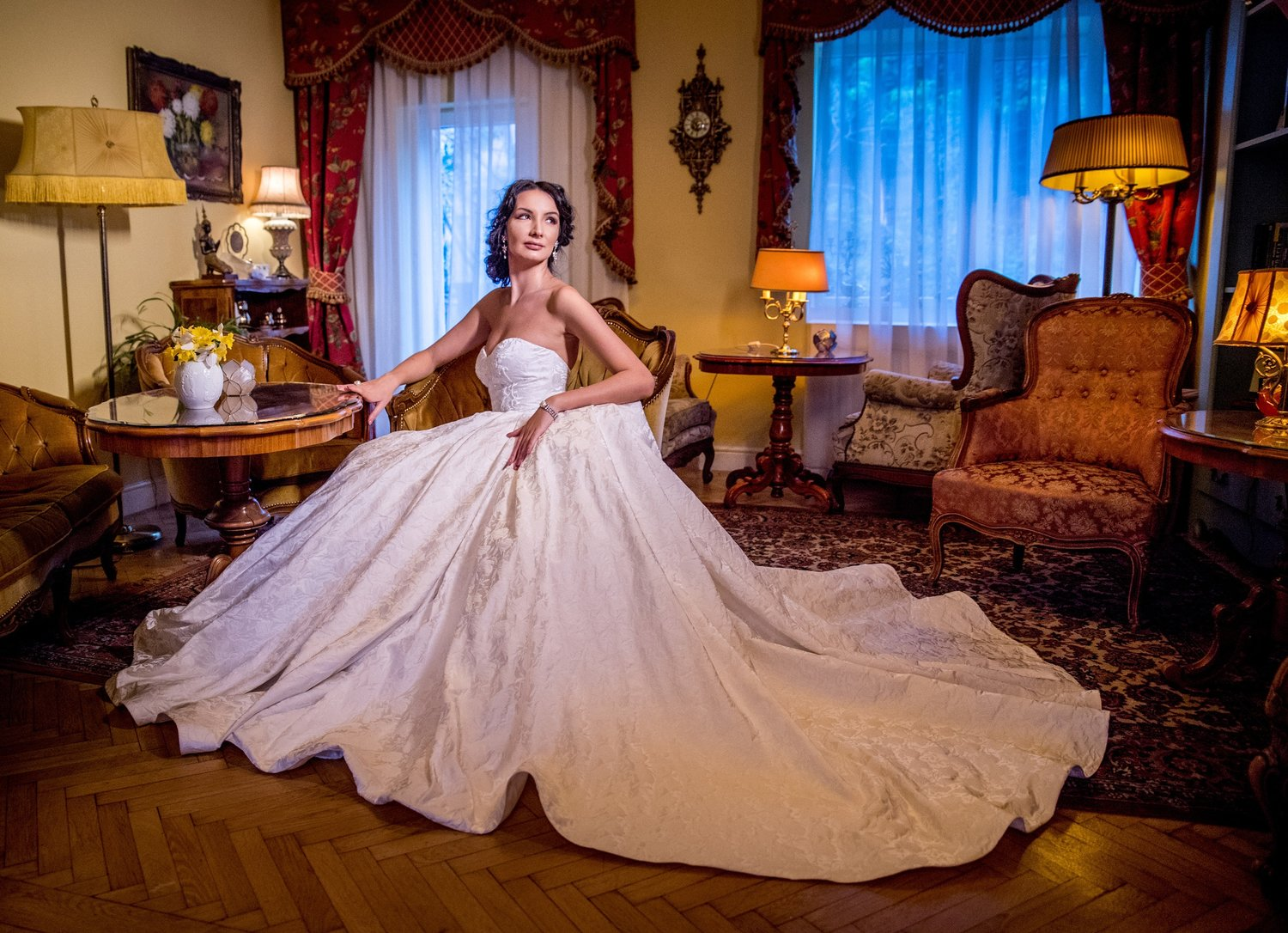 Featured:  Amaryllis , ball gown wedding dress crafted in fine brocart, with sweetheart bodice and a long, royal train