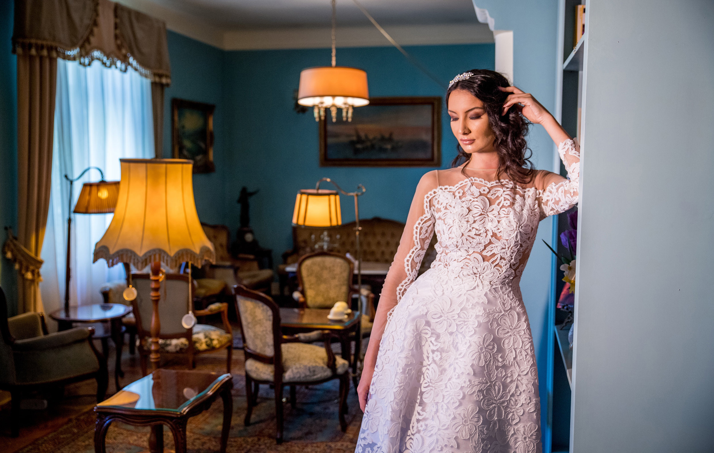Featured:  Anémone , A-line ivory wedding dress crafted in textured lace
