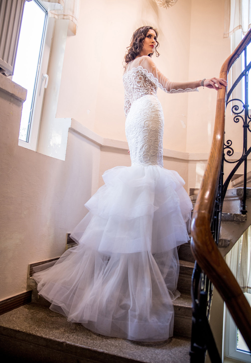 Featured:  Azalée , long sleeve wedding dress with trumpet skirt