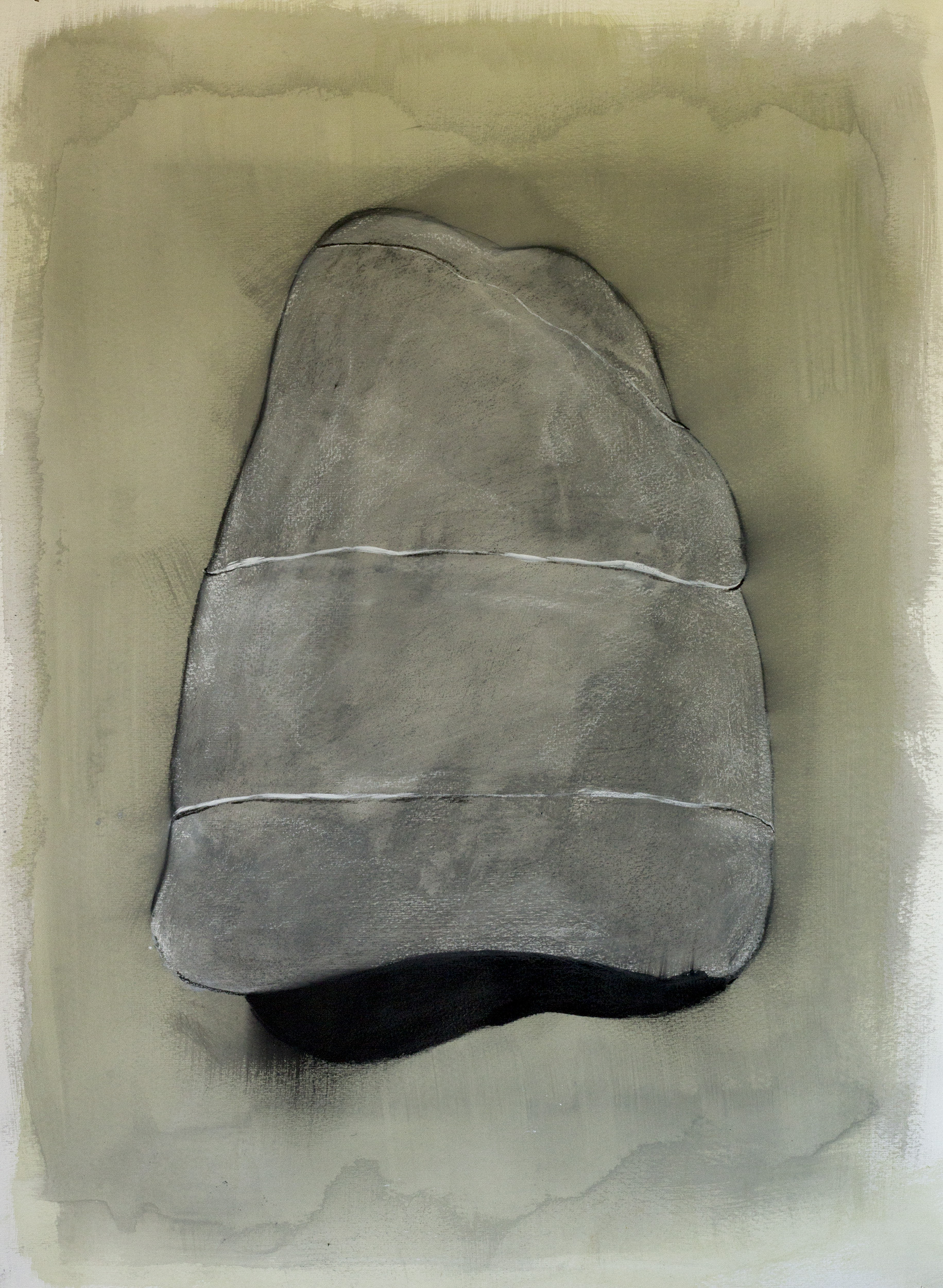 "Rock Drawing, ©Jennifer Moller, 20"" x 27,"" gouache, gesso, pencil, charcoal, on paper"