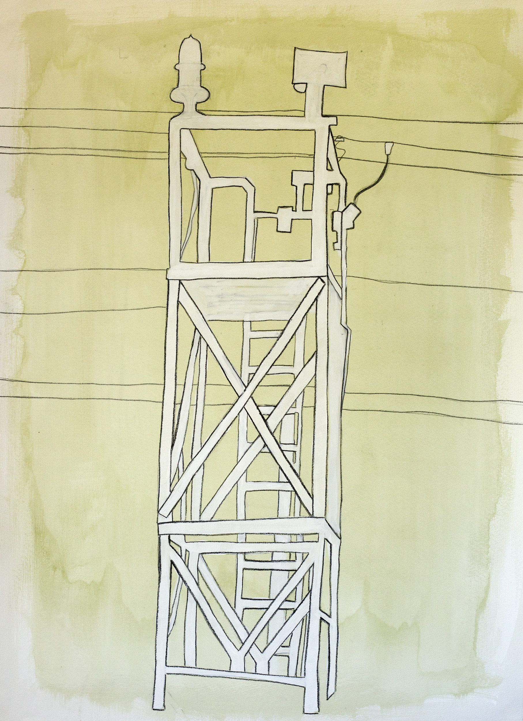"Light Beacon , ©Jennifer Moller, 20"" x 27,"" gouache, gesso, pencil, charcoal, on paper"