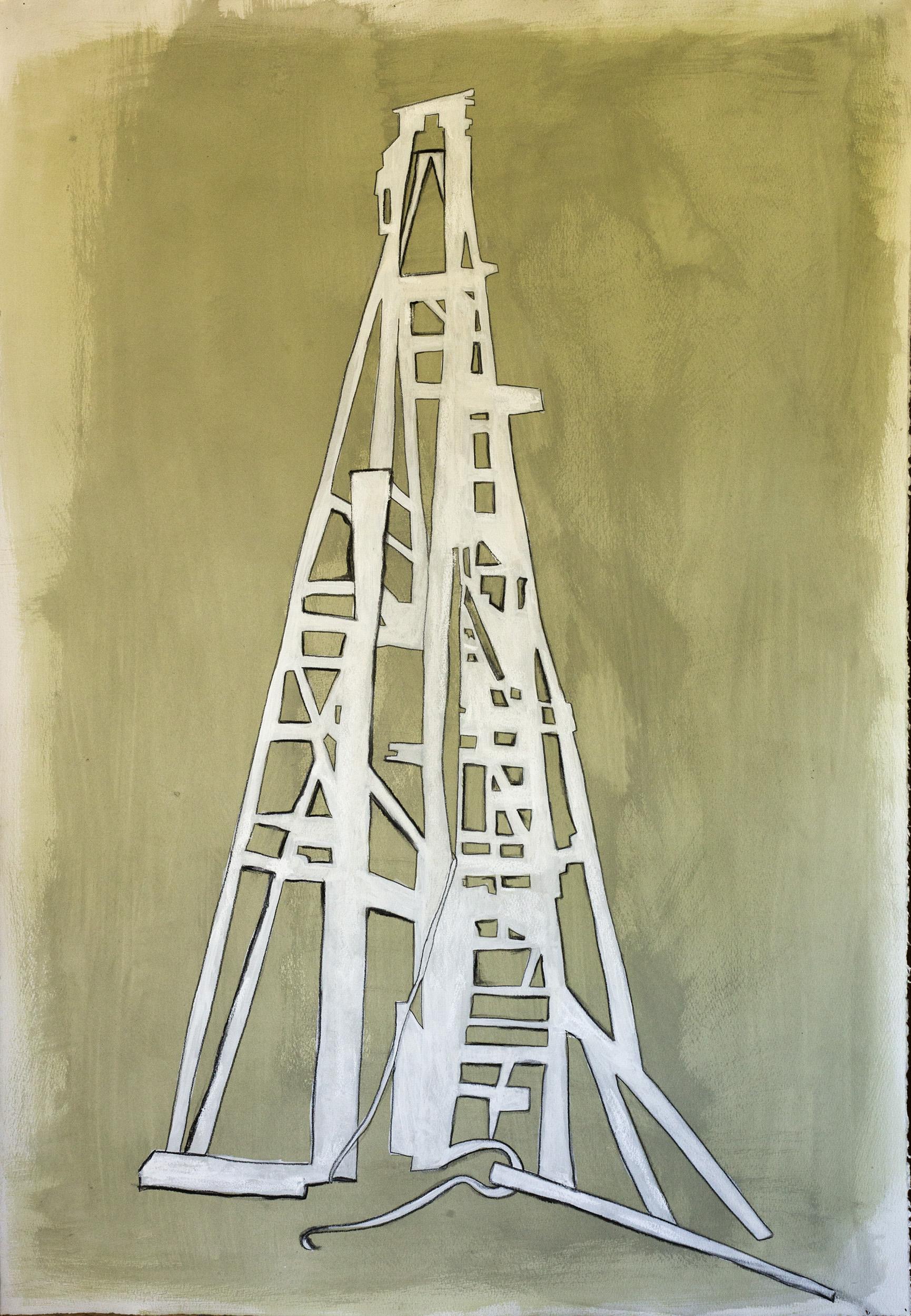 """Derelict , ©Jennifer Moller, 40"""" x 27,"""" gouache, gesso, pencil, charcoal, on paper"""