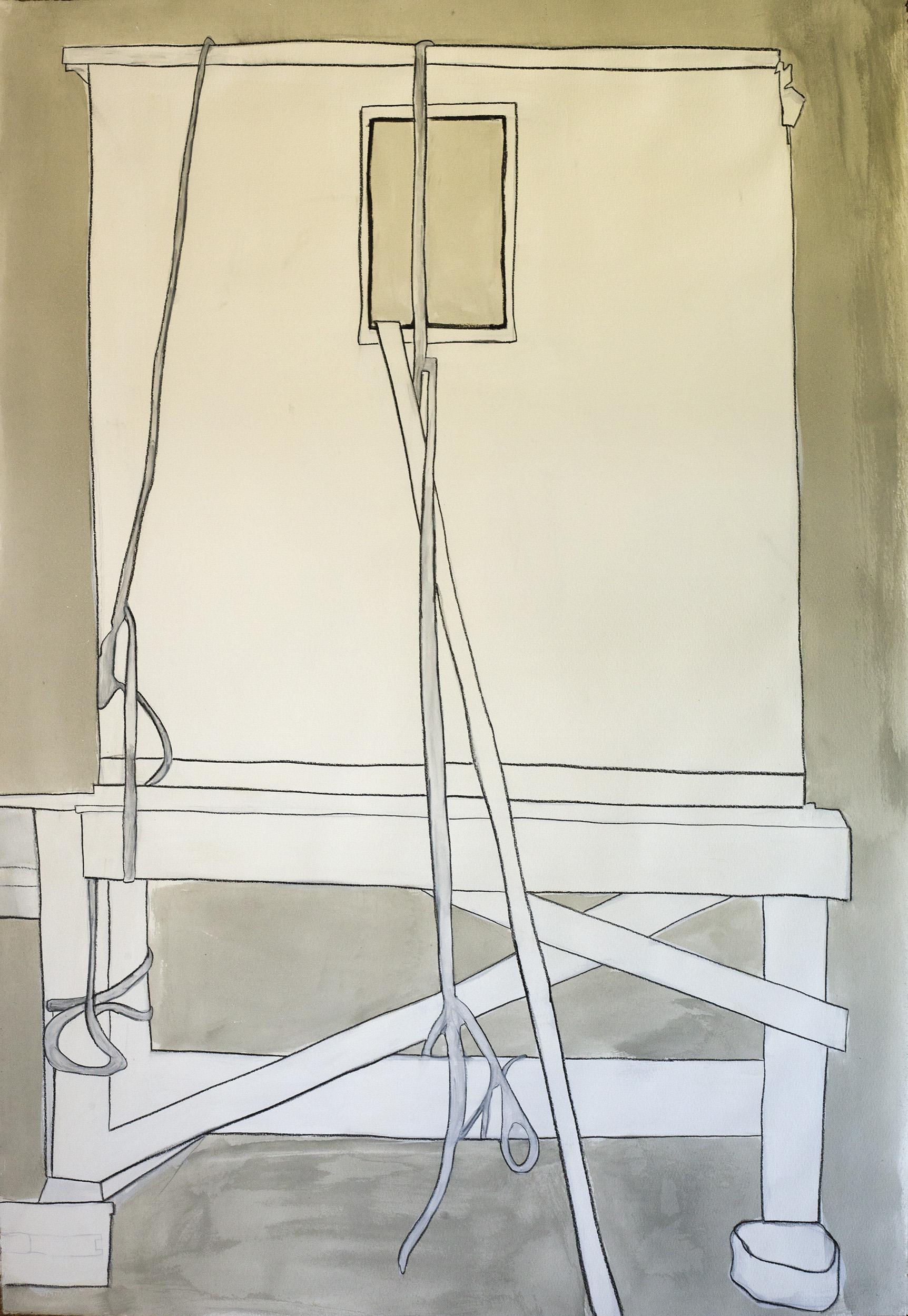 "Ice, PEI , ©Jennifer Moller, 40"" x 27,"" gouache, gesso, pencil, charcoal, on paper"