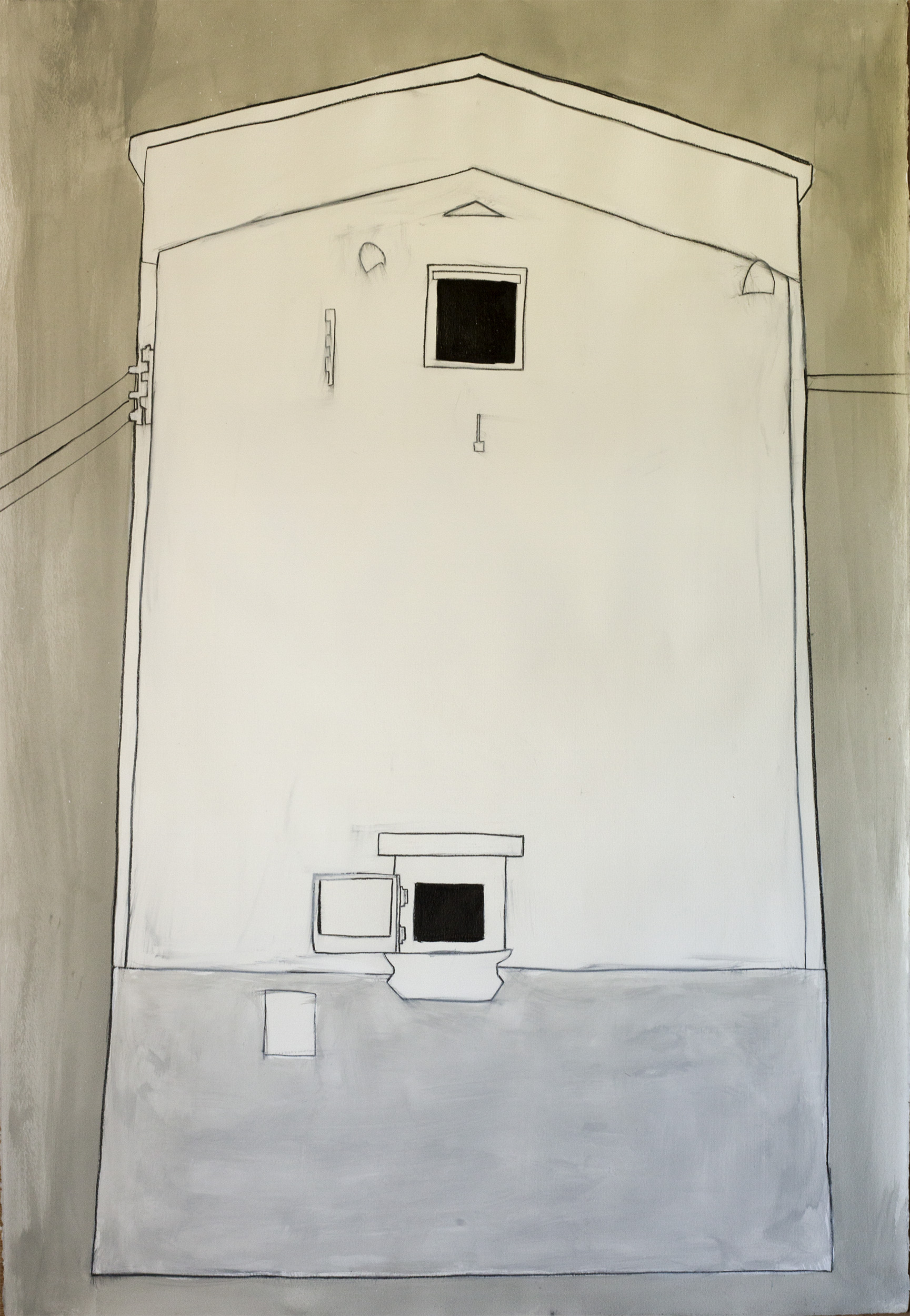 """Ice House, Comeauville , ©Jennifer Moller, 40"""" x 27,"""" gouache, gesso, pencil, charcoal, on paper"""