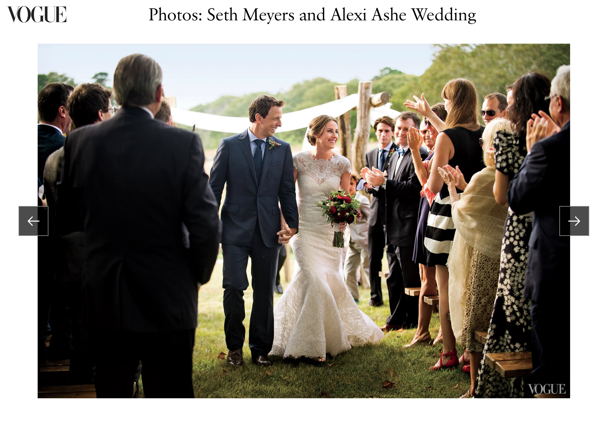 Seth & Alexi - Comedian Seth Meyers married Alexi Ashe married in a rustic ceremony on Martha's Vineyard. A spread of our images from this beautiful wedding appeared in Vogue Magazine. You can see the story here.