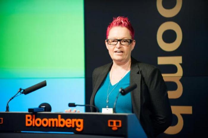 Dr Sue Black OBE speaking at a Bloomberg event (https://blackse.wordpress.com/)