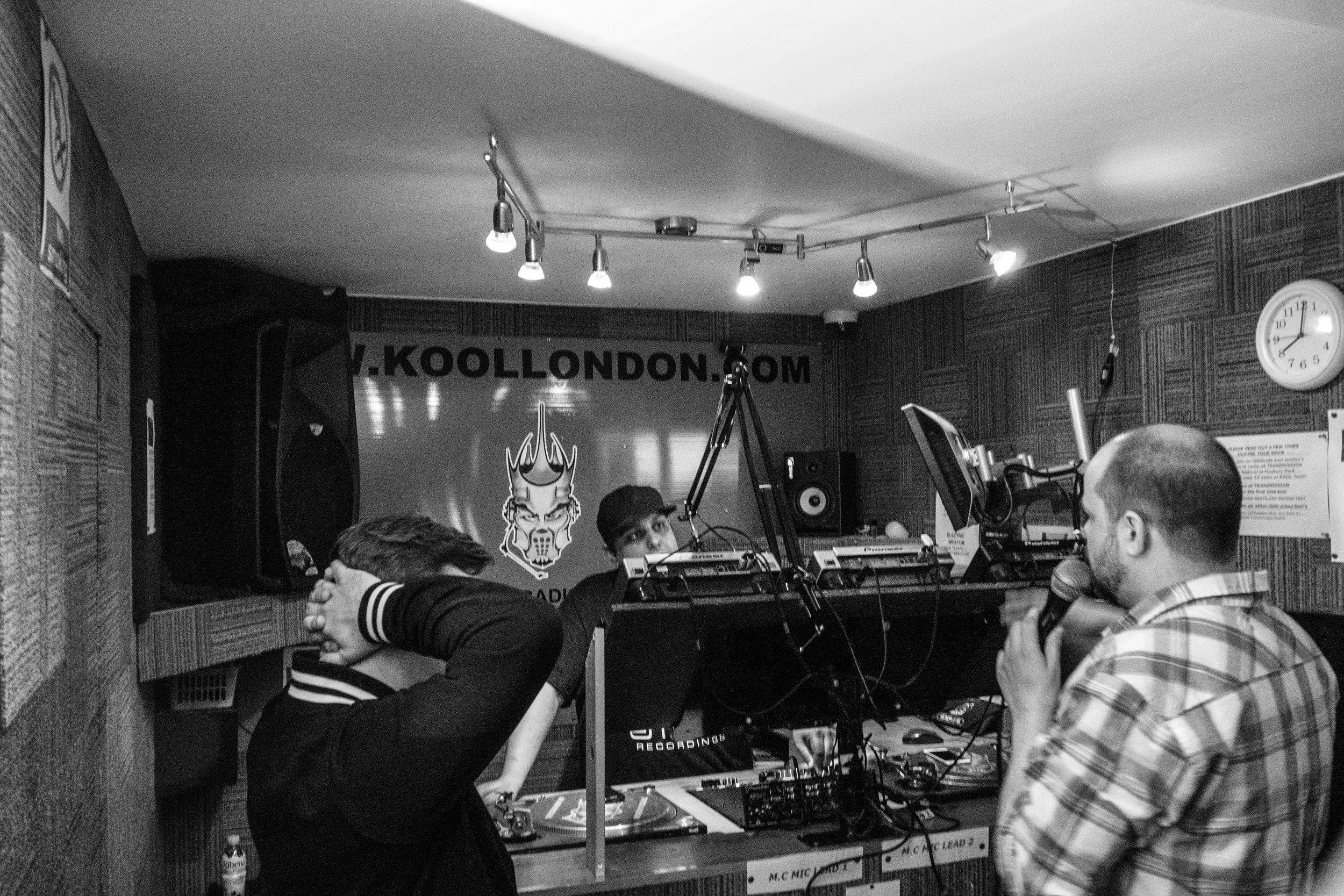 Peter Costigan and Eric Tesainer being interviewed on Kool London