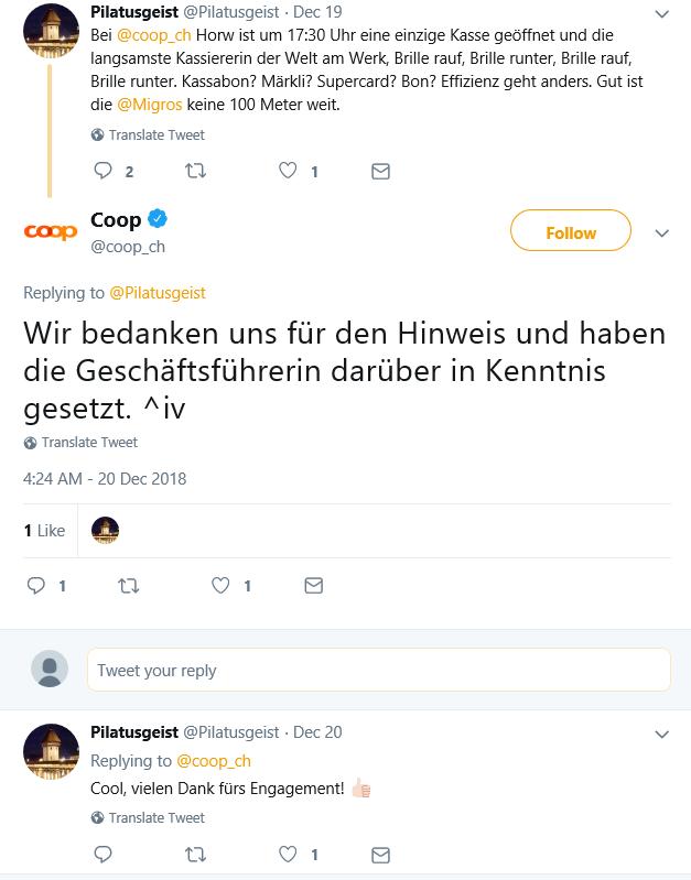 So hat Coop auf eine Twitter Bewertung reagiert. Quelle: Twitter.com