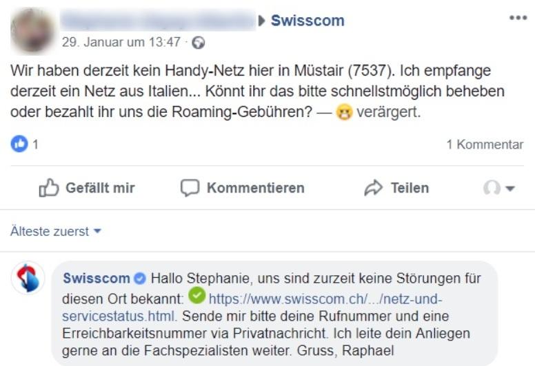 Swisscom bietet weitere Kontaktmöglichkeiten an. Quelle: Facebook.com
