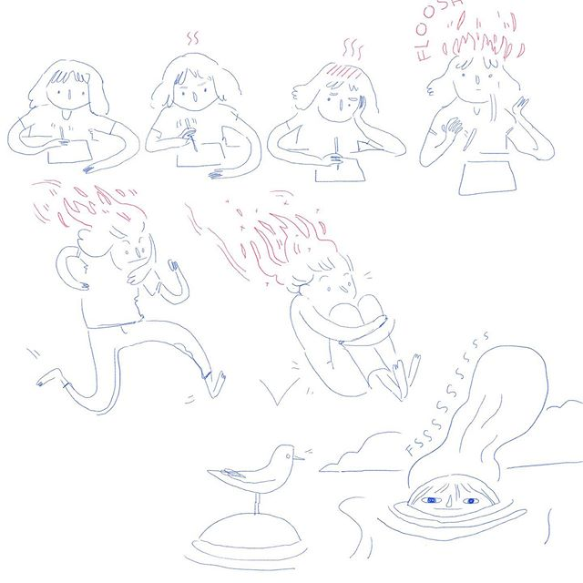 cool down before you burn out this summer 🌊  #frilanslivet #freelance #drawing #burnout #comic #summer #tegning #sommer #tegneserie #cooldown