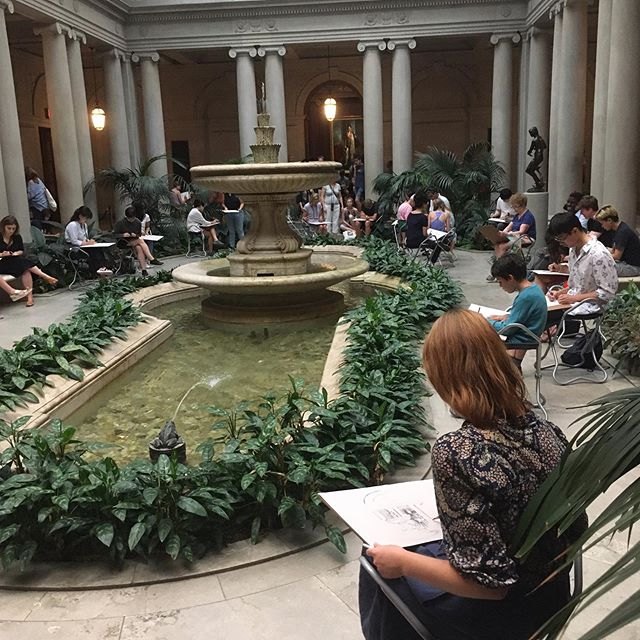 Drawing in the garden court at The Frick Collection 🌿 #nyc #manhattan #uptown #america #thefrickcollection #gardencourt #drawing #illustration #green #pond #plants #study
