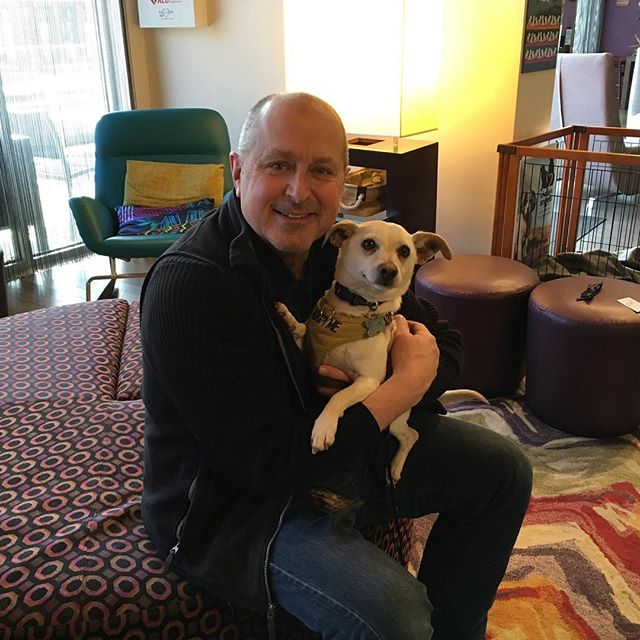 Nashville @citywinerynsh last night with @realaimeemann and tonight Asheville NC. Keeping it real on the road. Thanks to the Aloft hotel which is dogga friendly and fosters until homes can be found.